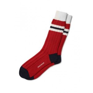 Savile rogue ankle socks in red white and black