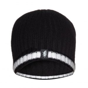 Cashmere Beanie Hat (with turn-up) in Black and White
