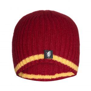 Cashmere Beanie hat in Claret with gold stripe