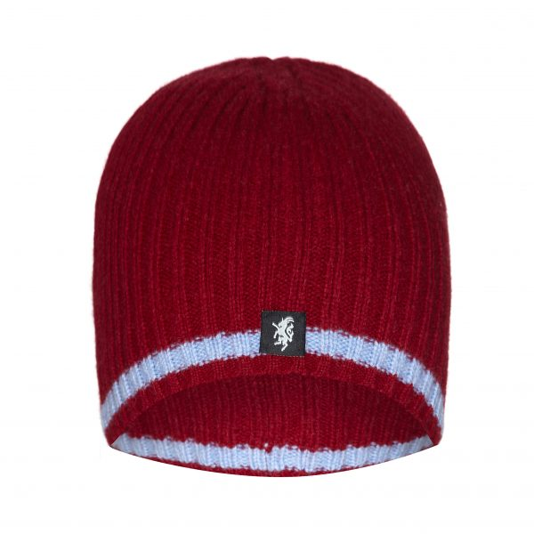 Cashmere Beanie hat in Claret with sky blue stripe