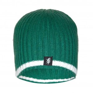 Cashmere Beanie Hat in Green and White
