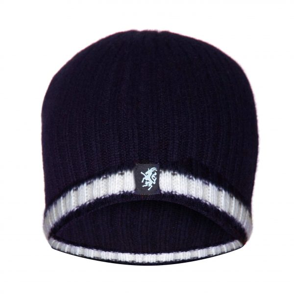 Cashmere Beanie Hat in Navy and White