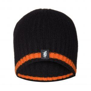 Cashmere Beanie Hat in Black and Orange