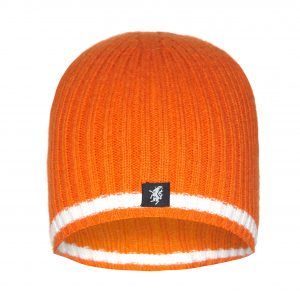 Cashmere Beanie Hat in Orange and White
