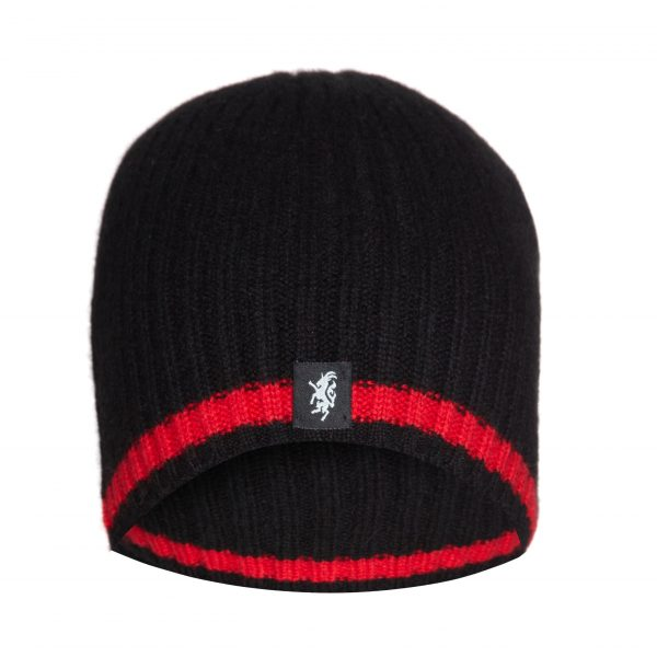 Cashmere Beanie Hat in Black and Red