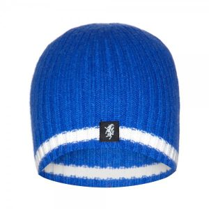 Cashmere Beanie Hat in Royal Blue and White