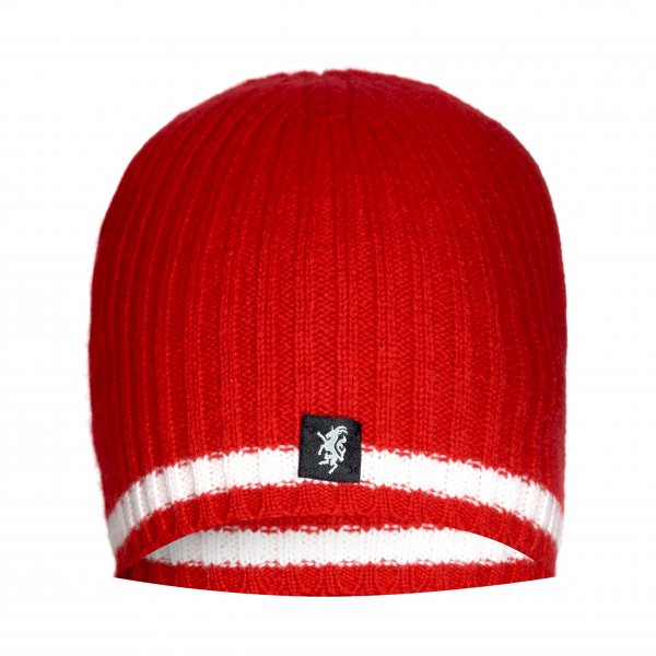 Cashmere Beanie Hat in Red and White