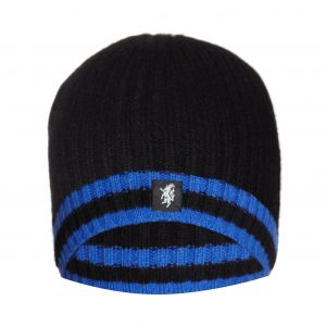 Cashmere Beanie Hat in Black and Blue