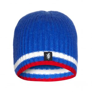 Cashmere Beanie Hat in Blue Red and White