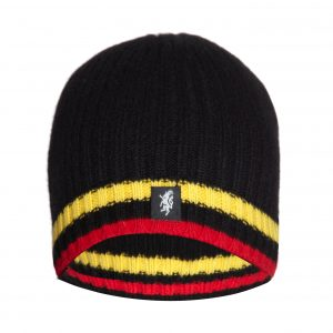 Cashmere Beanie Hat in Black Yellow and Red