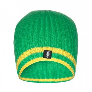 Cashmere Beanie Hat in Green and Yellow
