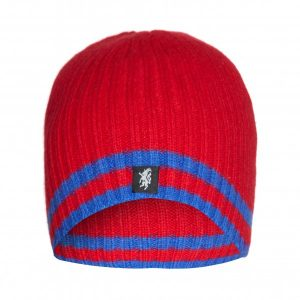 Cashmere Beanie Hat in Red and blue