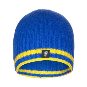 Cashmere Beanie Hat in Blue and Yellow