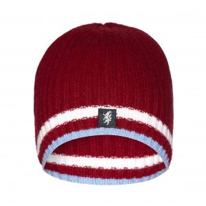 Cashmere Beanie Hat in Claret White and Sky Blue