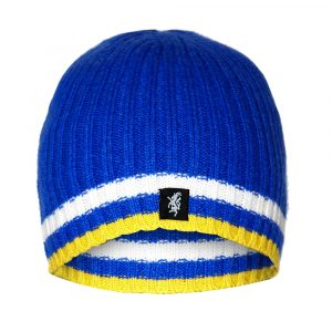 Cashmere Beanie Hat in Blue White and Yellow