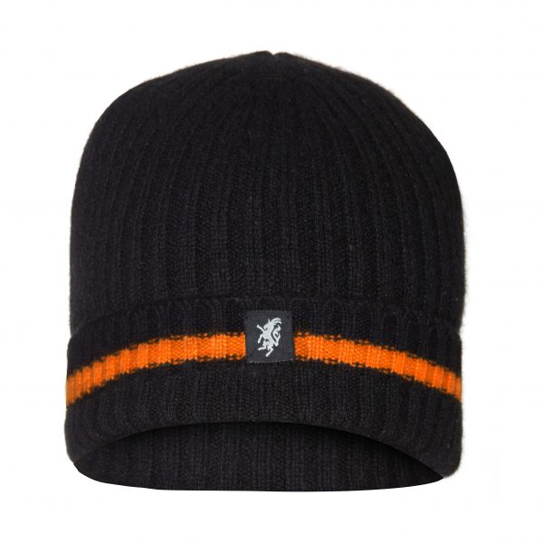 Cashmere Beanie Hat (turn-up) in Black and orange colours