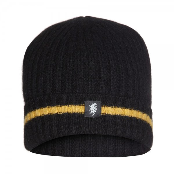 Cashmere Beanie Hat (with turn-up) in Black and Yellow colours