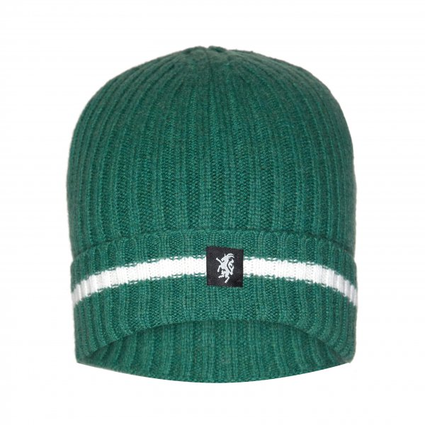 Cashmere Beanie Hat (with turn-up) in Green and White