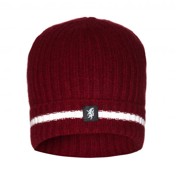 Cashmere Beanie Hat in Maroon and White