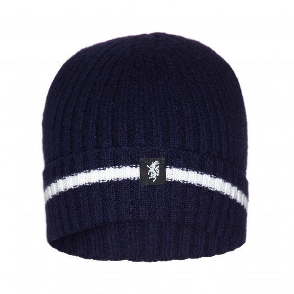 Cashmere Beanie Hat (with turn up) in Navy and White