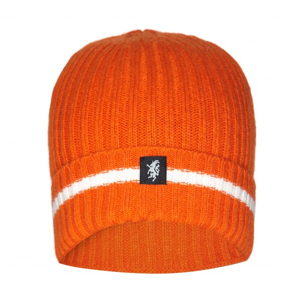 Cashmere Beanie Hat (with turn-up) in Orange and White