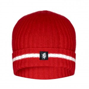 Cashmere Beanie Hat (with turn-up) in Red and White