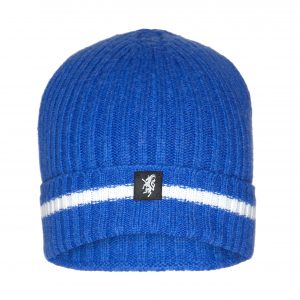 Cashmere Beanie Hat (with turn-up) in Royal Blue and White