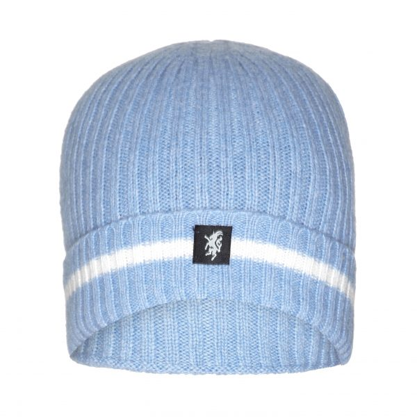Sky Blue and White stripe Beanie with turn up