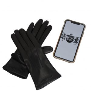 Savile Rogue Women's Leather Touchscreen Gloves in black