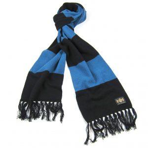 Savile Rogue Black and Petrol Blue King Cashmere Football Scarf