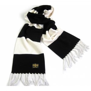 Savile Rogue Black and White King Cashmere Football Scarf
