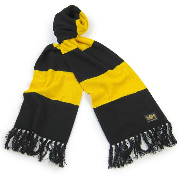 Savile Rogue Black and Yellow King Cashmere Football Scarf