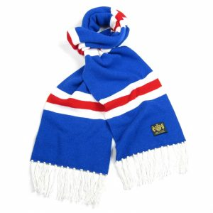 Savile Rogue Blue Red and White King Cashmere Football Scarf