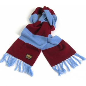 Claret and Sky Blue King Cashmere King Size Savile rogue ootball Scarf