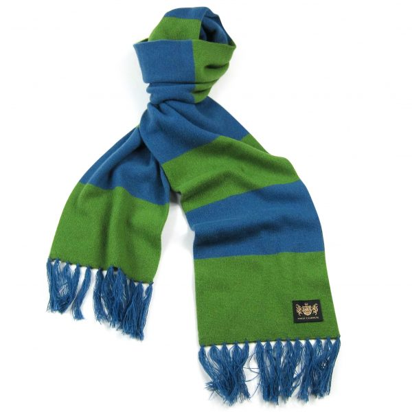 Savile Rogue Green and Petrol Blue King Cashmere Football Scarf
