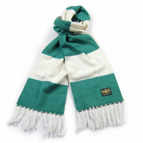 Savile Rogue Green and White King Cashmere Football Scarf
