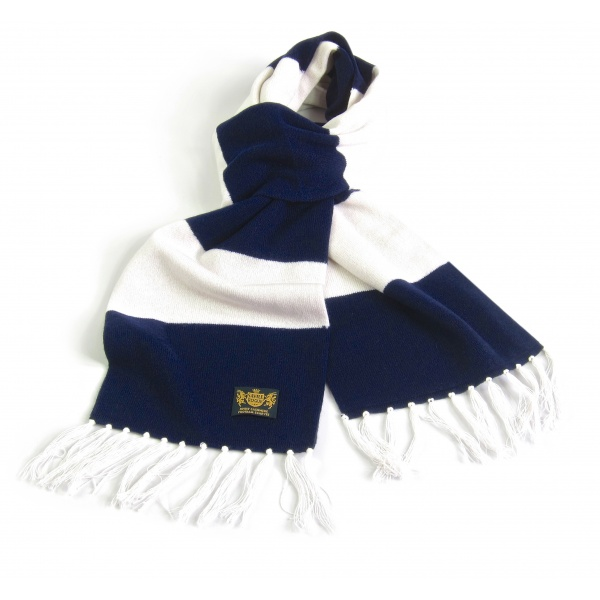 Savile Rogue Navy and White King Cashmere Football Scarf