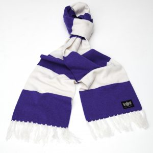 Savile Rogue Purple and White King Cashmere Football Scarf