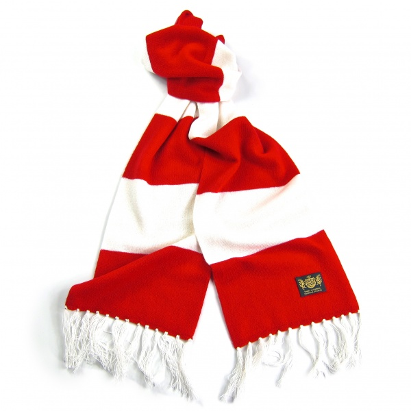 Savile Rogue Red and White King Cashmere Football Scarf