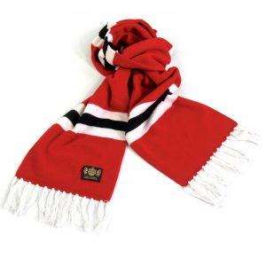 Savile Rogue Red White and Black King Cashmere Football Scarf