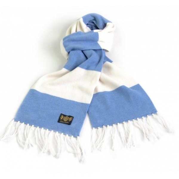 Savile Rogue Sky Blue and White King Cashmere Football Scarf