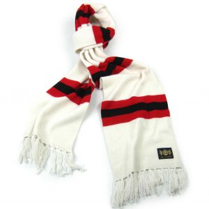 Savile Rogue White Red and Black King Cashmere Football Scarf