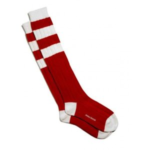 Wool Cashmere Blend Football-Style Long Socks in Red and White