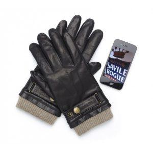 Dark Brown Leather Mens Touchscreen Gloves