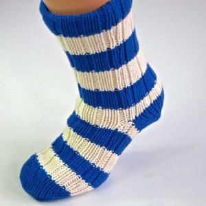 Royal Blue and White Knitted Slipper Socks