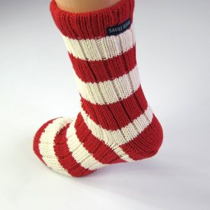 Slipper Socks knitted in Red and White