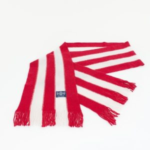 Vertical red and white Stripe Knitted Scarf by Savile Rogue