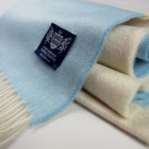 Classic White adn Sky blue woven scarf by savile rogue
