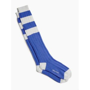 Wool Cashmere Blend Football-Style Long Socks in Royal Blue and White