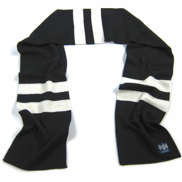 Black and White Hattrick Cashmere Football Scarf